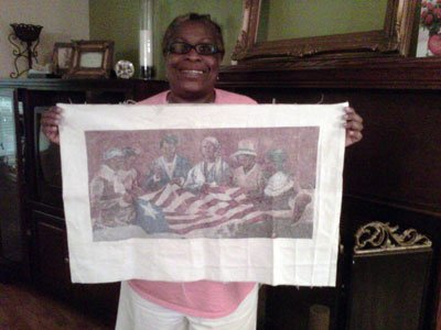Cross-Stitch of designing the Liberian flag.